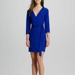 Diane Von Furstenberg Blue Julian Mini Wrap Dress
